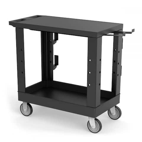 "32"" x 18"" Heavy-Duty Industrial Cart - One Flat Shelf, One Tub Shelf with Ladder Holder, Storage Hooks, and Spool Holder"