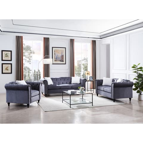 Loveseat Sofa Chairand3-seater Aofa,With Button and Copper Nail