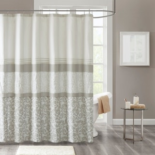 510 Design Lynda Printed and Embroidered Shower Curtain with Liner (As Is Item)