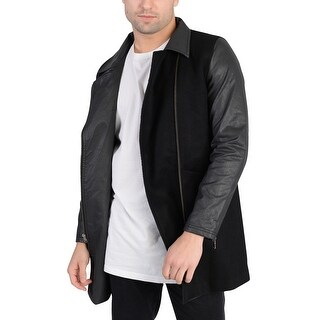 Adidas Mens Long Wool Outerwear Jacket Black