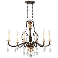 "Metropolitan N6457-652 6-Light 18"" Wide Candle Style Chandelier with Crystal Accents from the Chateau Nobles Collection"