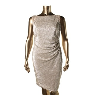 Lauren Ralph Lauren Womens Pleated Metallic Cocktail Dress