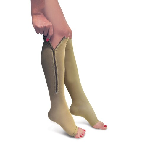Women's Firm Support Zippered Open Toe Knee High Compression Socks