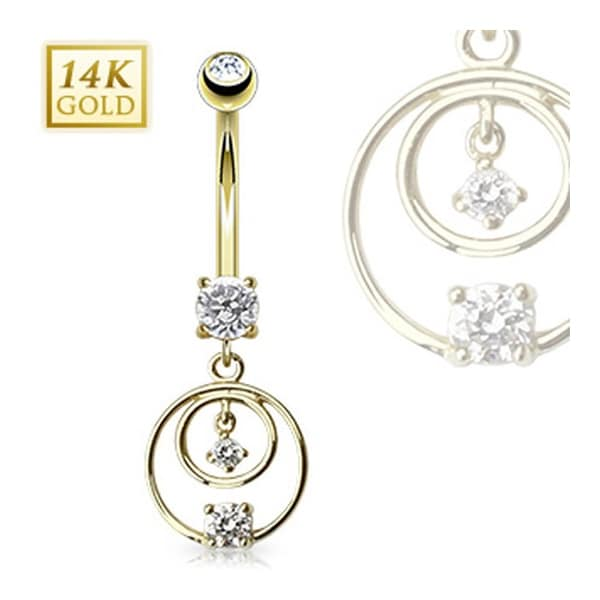 """14 Karat Solid Yellow Gold CZ Prong Navel Belly Button Ring with Double Loop Chandelier - 14GA 3/8"""" Long"""