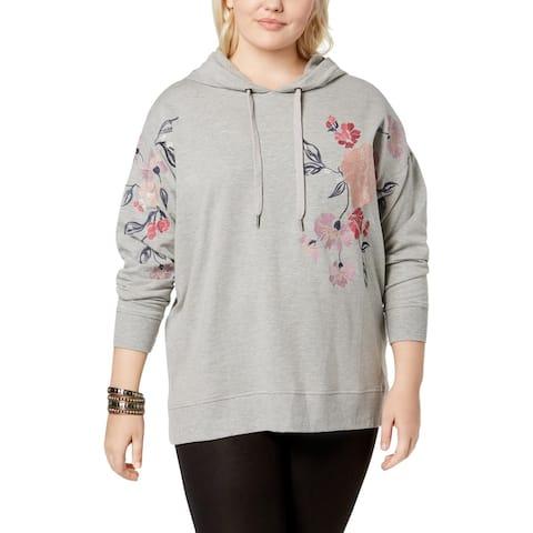 Jessica Simpson Womens Plus Sweatshirt Floral Embroidered