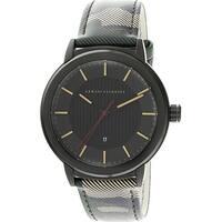 Armani Exchange Men's  Black Leather Japanese Quartz Fashion Watch