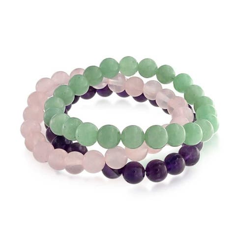 Set Of 3 Dyed Purple Amethyst Pink Rose Quartz Green Aventurine 8MM Ball Bead Stones Stretch Bracelet For Women Set