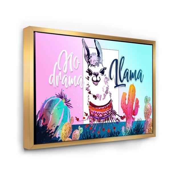 Designart 'No Drama Llama' Children's Art Framed Canvas Wall Art Print. Opens flyout.