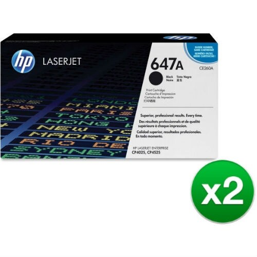 HP 647A Black Original LaserJet Toner Cartridge (CE260AG)(2-Pack)