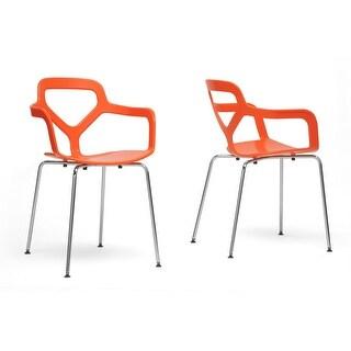 Miami Orange Plastic Modern Dining Chair  - 2 Chairs