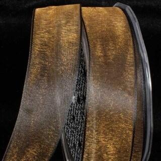"Crystal Organdy Amber Brown Wired Craft Ribbon 2"" x 27 Yards"