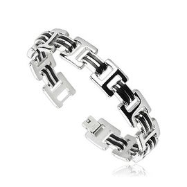 Stainless Steel H Bracelet with Double Rubber Stripe Links (13.5 mm) - 8.75 in