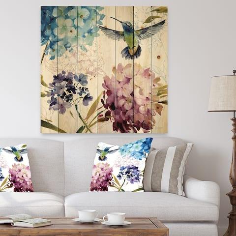 Porch & Den Hummingbird Blue Cottage Flower' Print on Natural Pine Wood
