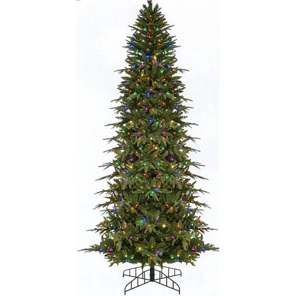 7.5' Pre-Lit Slim Palisade Artificial Christmas Tree - Multi LED Lights - green