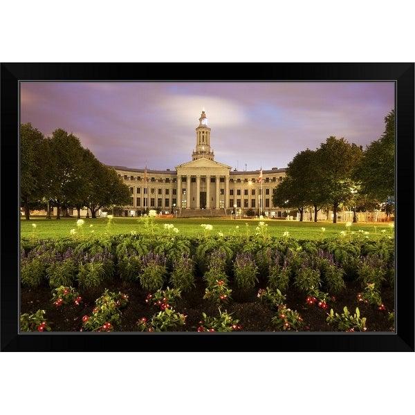 """Denver, Colorado, City Hall at sunset"" Black Framed Print"