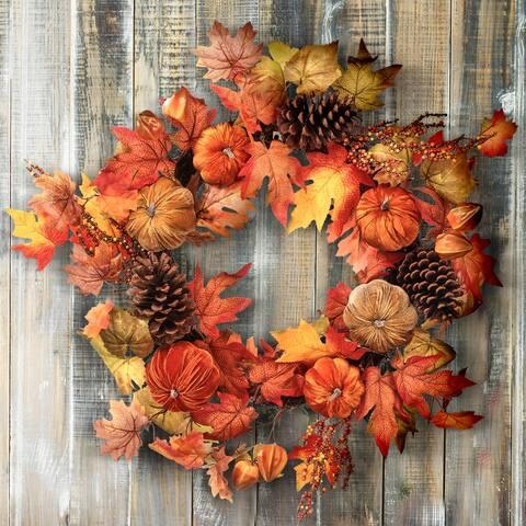 """26"""" Velvet Pumpkin Harvest Leaves Wreath - 26-Inches"""
