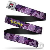 Pok Ball Full Color Black Pokmon Mewtwo Poses Black Purples Webbing Seatbelt Belt