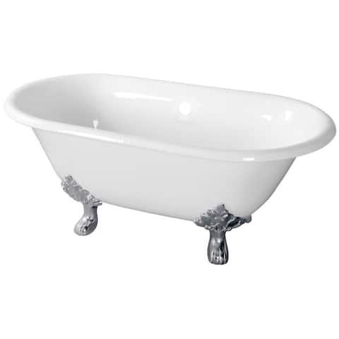 "Kingston Brass VCTND603119NC Aqua Eden 60"" Cast Iron Clawfoot Tub - White / Polished Chrome"