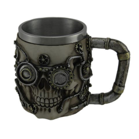 Metallic Silver Steampunk Skull Mug W/ Stainless Steel Liner - 4.25 X 5.75 X 4.25 inches