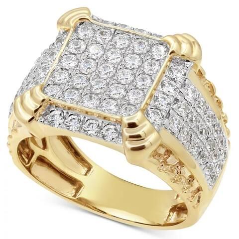 2 1/4Ct Diamond Mens Ring in 10k White Yellow Gold