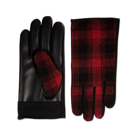 Isotoner Mens Sleek Heat Driving Gloves Faux Leather Plaid