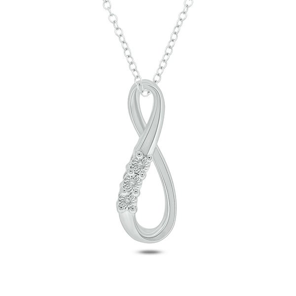 Cali Trove Diamond Accent Infinity Pendant In Sterling Silver. Opens flyout.