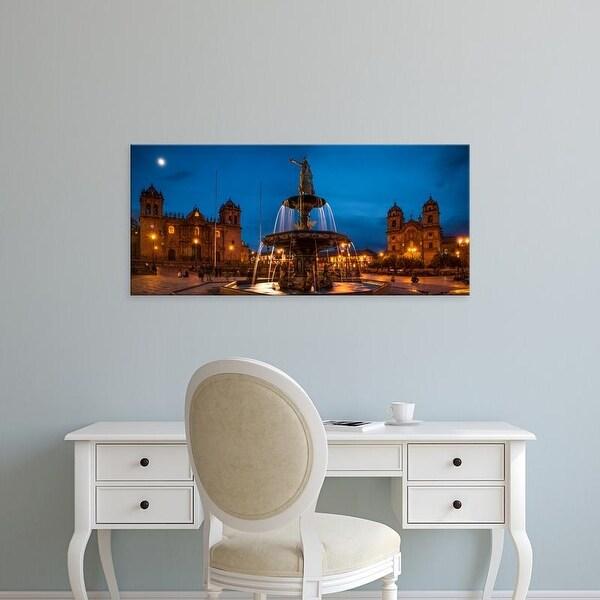 Easy Art Prints Panoramic Images's 'Fountain at La Catedral, Plaza De Armas, Cusco City, Peru' Premium Canvas Art