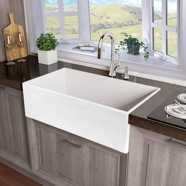 "Miseno MNO33201FC Modena 33"" Single Basin Farmhouse Fireclay Kitchen Sink - White"