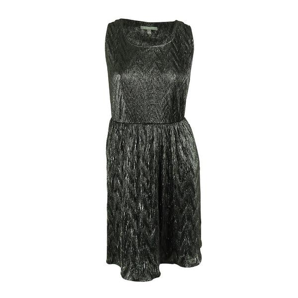 NY Collection Women's Sleeveless Metallic Dress - Charcoal - 1x