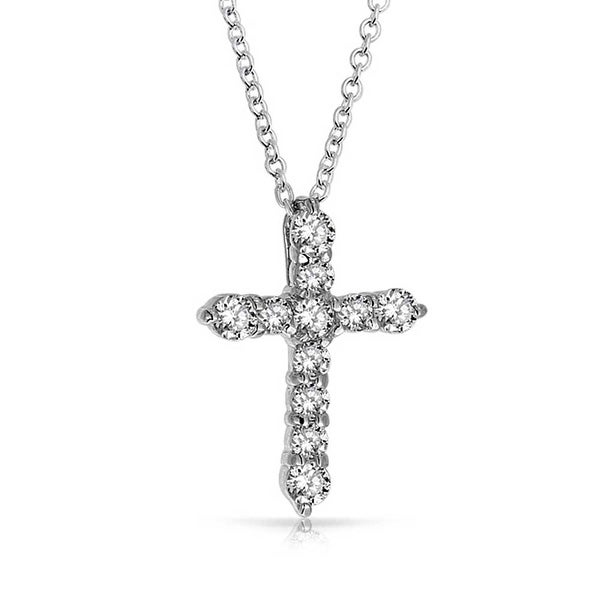 Shop .925 Sterling Silver Round Cut CZ Cross Pendant 18 Inches - On Sale -  Free Shipping On Orders Over  45 - Overstock.com - 17988315 774dbba15542