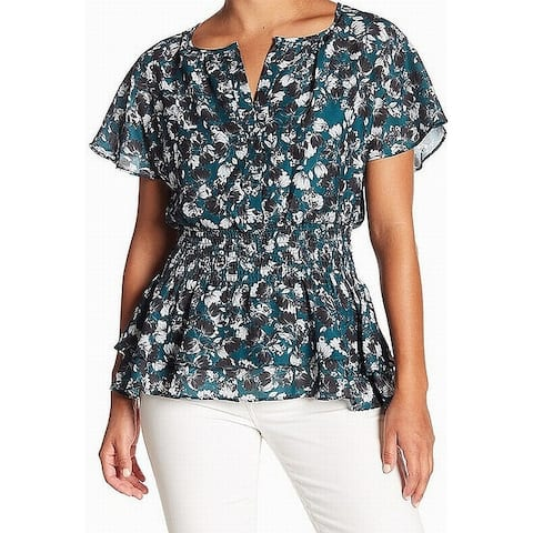 Parker Green Black Womens Size XS Floral Print Smocked Blouse