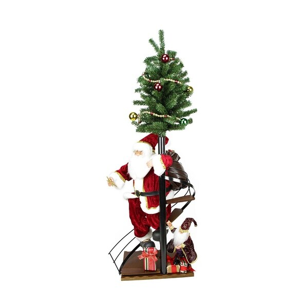 "50"" Santa Claus on Spiral Staircase with Tree and Elf Christmas Figure on Wooden Base - RED"