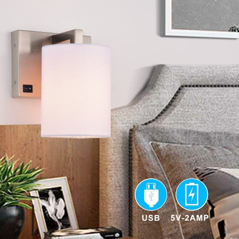 1-light Nickel Wall Sconce with USB Ports Bed light