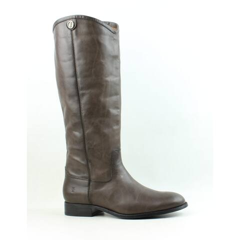 Frye Womens Melissa Button 2 Smoke Brown Extended Calf Riding Boots