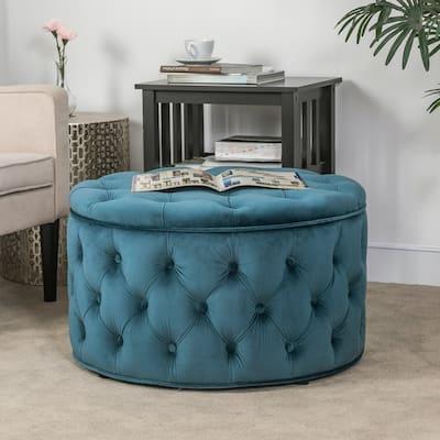 Adeco Velvet Round Storage Ottoman Button Tufted Footrest Stool Bench
