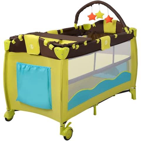 Costway New Green Baby Crib Playpen Playard Pack Travel Infant