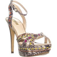 Guess Odonna2 Ankle Strap Pumps, White Multi - 9 us