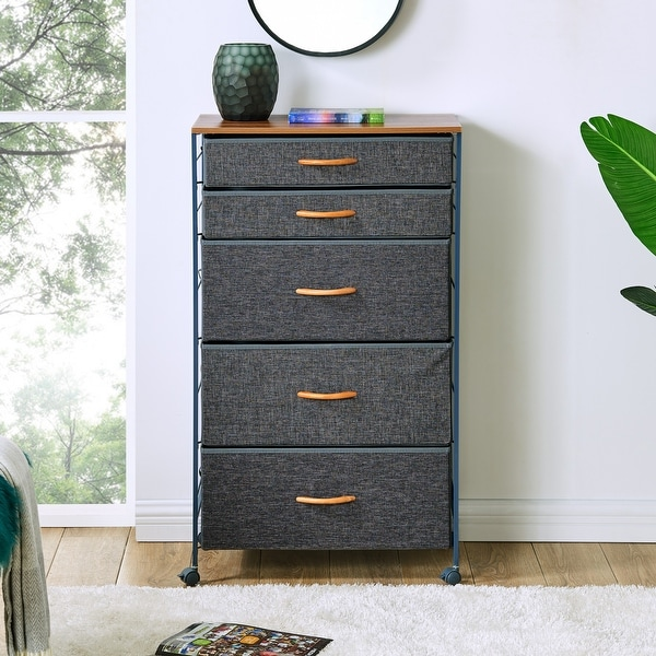 Danya B. Fabric 5-Drawer Storage Dresser Chest wit. Opens flyout.