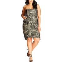 City Chic Womens Plus Special Occasion Dress Strapless Lace