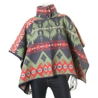 LRL Lauren Jeans Co. Womens Wool Patterned Poncho - S/M