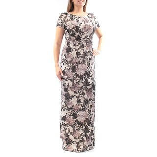 Womens Beige Short Sleeve Full Length Sheath Evening Dress Size: 12