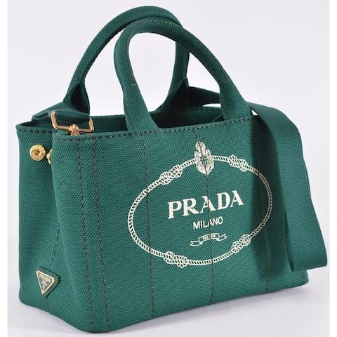 Prada 1BG439 Canapa Oleandro Green Canvas Printed Logo Crossbody Purse Bag