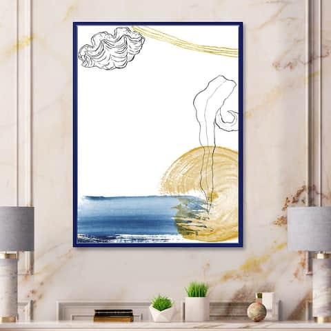 Designart 'Classic Blue Abstract Golden Marine Shell' Farmhouse Framed Canvas Wall Art Print