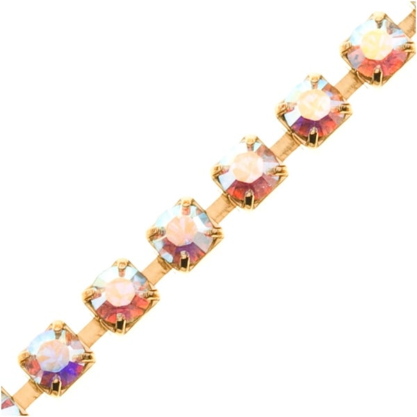 SWAROVSKI ELEMENTS Gold Plated Rhinestone Cup Chain 24PP Crystal AB - BY THE FT