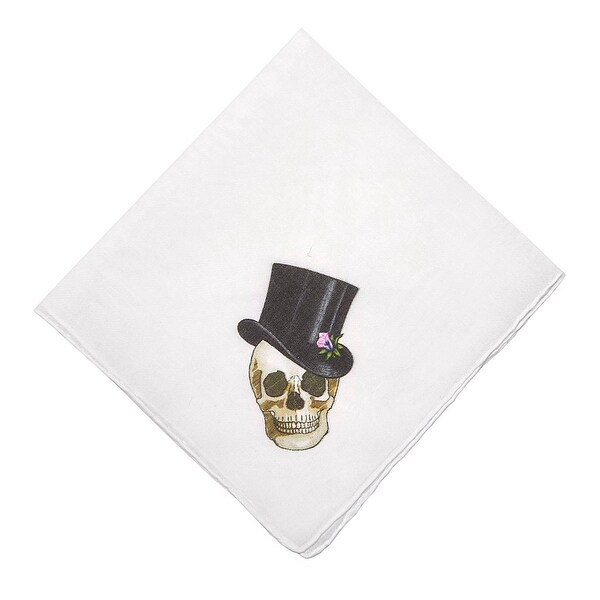 Swanky Male Skull Graphic Cotton Handkerchief (Set of 1 or 2)