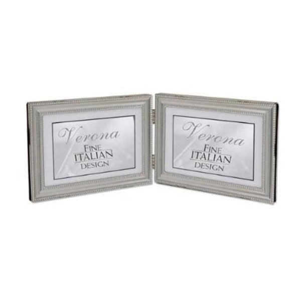 4x6 Hinged Double - Horizontal - Metal Picture Frame Pewter Finish