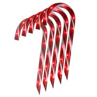 Set of 10 Lighted Outdoor Candy Cane Christmas Lawn Stakes 12""