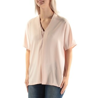 Womens Pink Short Sleeve V Neck Casual Top Size 4