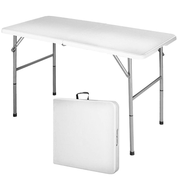 Costway 4' Folding Table Portable Indoor Outdoor Picnic Party Dining Camp Tables Utility - White