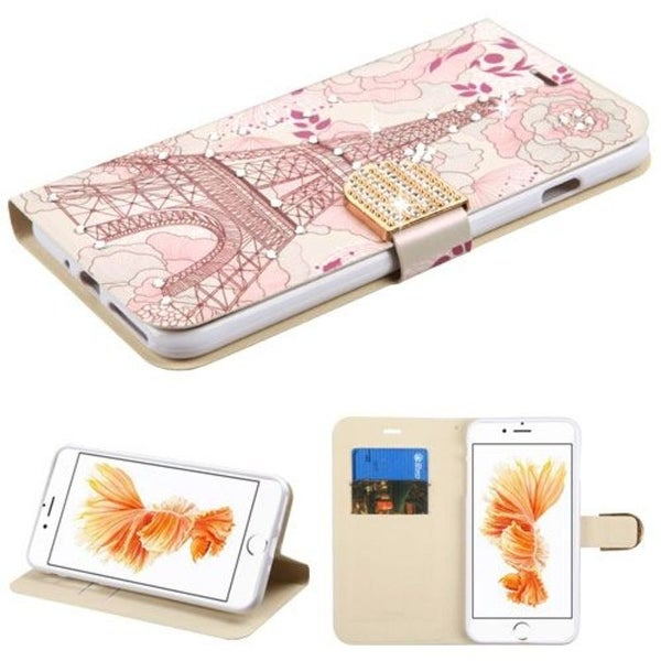 Insten Pink Eiffel Tower Leather Case Cover with Stand/ Wallet Flap Pouch/ Diamond For Apple iPhone 7 Plus